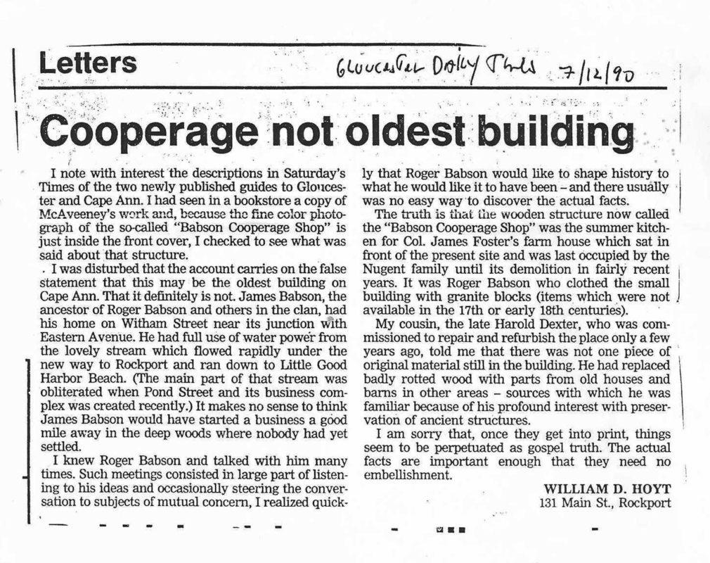 Cooperage Not Oldest Building