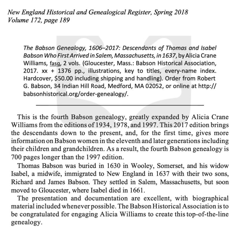 Babson Genealogy in New England Historical and Genealogical Register